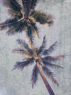 "Coastal Palms Mixed Media Painting on Canvas 60h x 40""w"
