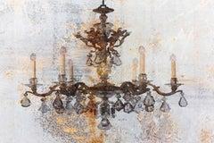 "Cooper Rustic Chandelier Heavy Textured Mixed Medium Painting Canvas 38x54"""
