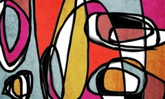 """Mid Century Modern Painting Mixed Medium Textured on Canvas 38 x 56"""""""