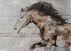 "Natural Rustic Horse Oil Painting on Canvas, Equestrian Art 72 W X 48"" H, Rolled"