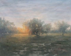 Nature Oil Painting Canvas, Foggy Sunset 57H x 72W, Landscape Rustic Painting
