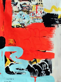Original Red Graffiti Street Art, Oil on Canvas, A Small Dose of Silence