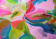 """Pink Green Abstract Painting Textured Giclee on Canvas 40x60"""" The Cause of Peace"""