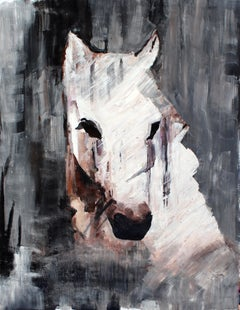 "Queen Horse - Oil Painting on Canvas, White Horse Portrait 72 H X 48"" W Rolled"