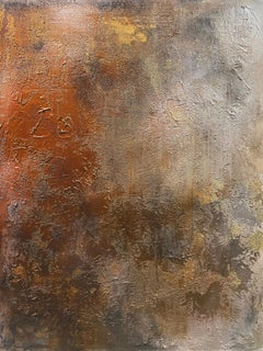 """Rustic Gold Copper Brown Abstract Heavy Textured Painting on Canvas 36 x 48"""""""