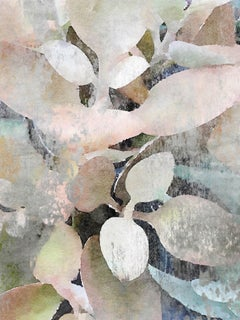 """Rustic Nature Pink Teal Landscape Painting Mixed Media Textured Canvas 54 x 38"""""""