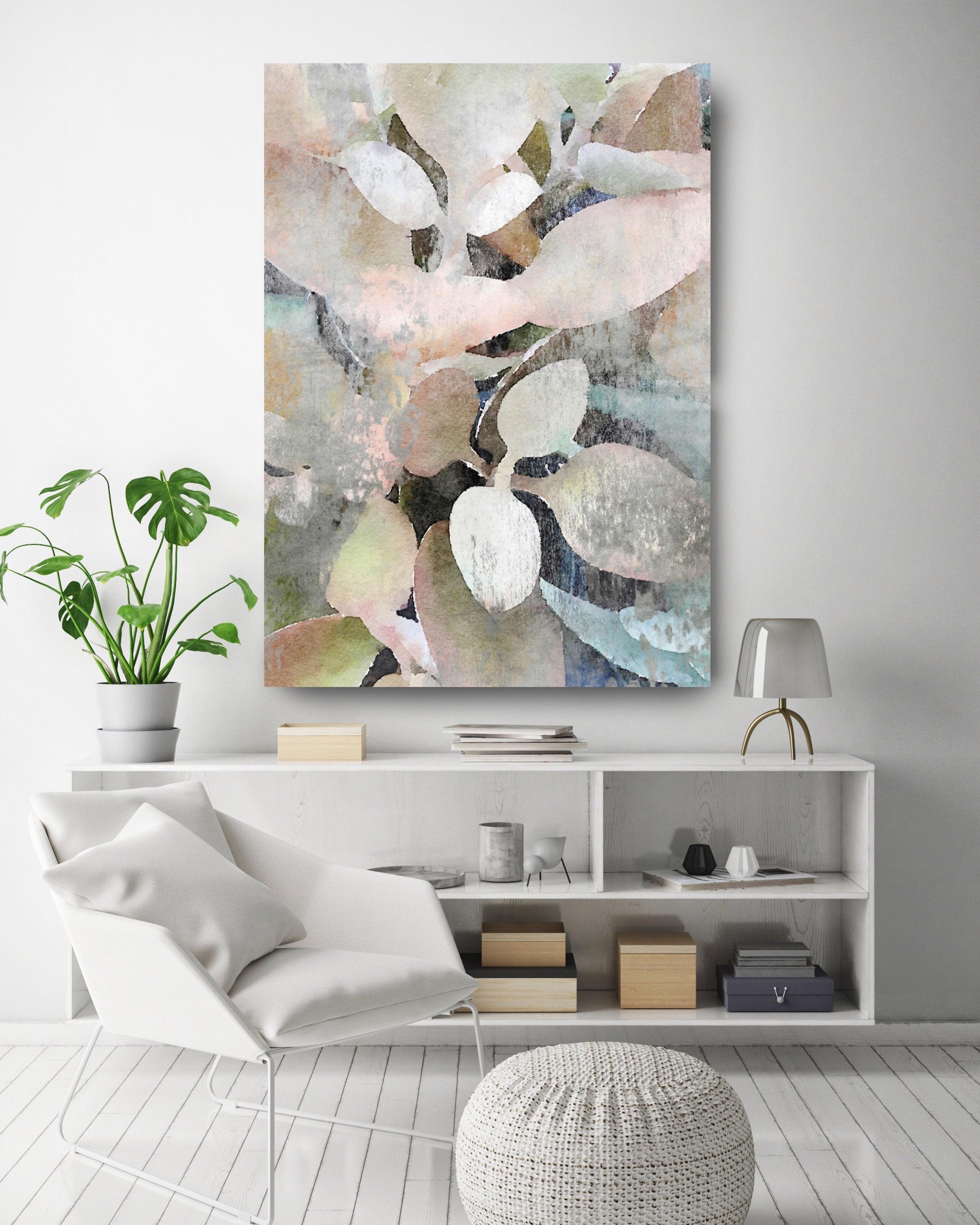 Rustic Nature Pink Teal Landscape Painting Hand Embellished Giclee on Canvas