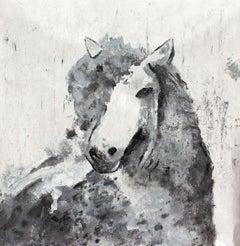 "Silver Era Horse Farmhouse Horse Painting, Oil Heavy Textured on Canvas 50X 50"""