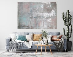 Silver Pink Teal Abstract Painting, Hand Embellished Giclee on Canvas