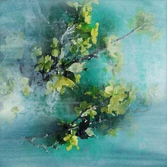 """Teal Rustic Flowers Painting Hand Textured Giclee on Canvas 45x45"""" Green Bunch"""