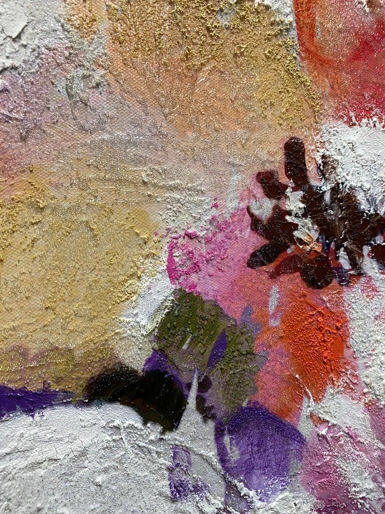Vivid Floral Horse, BOHO Horse Fine Art Hand Embellished Giclee on Canvas For Sale 1