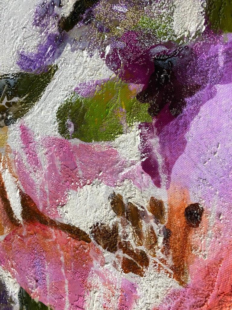 Vivid Floral Horse, BOHO Horse Fine Art Hand Embellished Giclee on Canvas For Sale 3