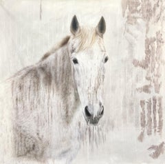 """White Beauty Rustic Horse Oil Painting Canvas Equestrian Art 58X58"""" Horse Art"""