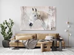 White Rustic Farmhouse Horse Oil Painting on Canvas 50Hx72W Horse Portrait Art