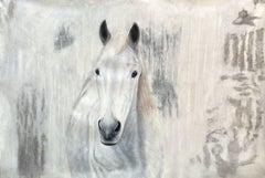 White Western Horse Oil Painting on Canvas 50Hx72W Horse Portrait Art