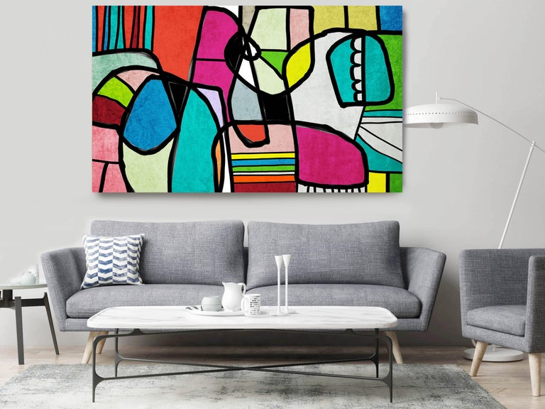 Abstract Vivid BOHO Painting Hand Embellished Giclee on Canvas - Gray Interior Painting by Irena Orlov