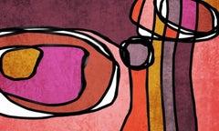 "Vivid Mid Century Modern Painting Mixed Media on Canvas 38x56"""