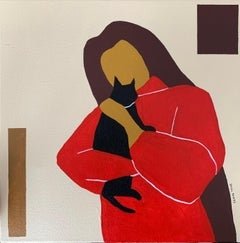 Red jumper 1.0, woman with cat abstract portrait