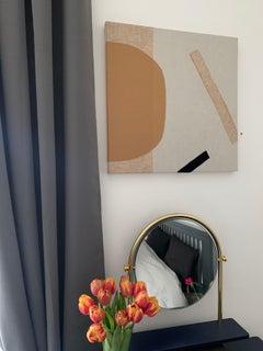 Sunny, Textile Fabric Abstract Interior Collage Cotton Art Beige Orange Black