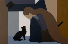 True Love, woman and cat abstract portrait