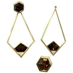 18 Karat Gold Smoky Quartz and 0.24 Carat Diamond Affinitá Earrings