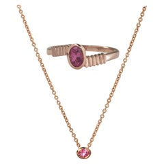 18 Karat Gold with Pink Sapphire in Oval Cut Necklace and Ring, Set