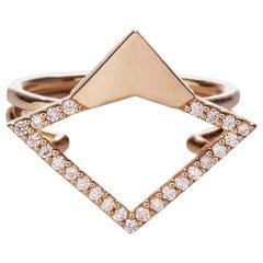 18 Karat Rose Gold 0.18 Carat Diamond Pavé Orbita Ring. Sustainable Fine Jewelry