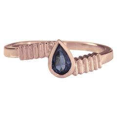 18 Karat Rose Gold 0.50 Carat Blue Pear Sapphire Ring