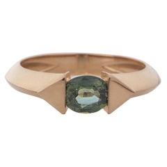 18 Karat Rose Gold 0.70 Carat Unheated Green Sapphire Oval Cut Stacking Ring