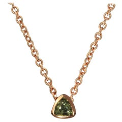 18 Karat Rose Gold, Natural Green Sapphire in Trillion Cut Necklace