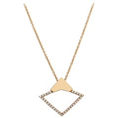 18 Karat Rose Gold with 0.22 Carat Diamond Pavé Orbita Necklace