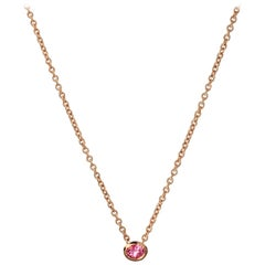 18 Karat Rose Gold with Pink Sapphire in Oval Cut Necklace.Sustainable Fine Jewe