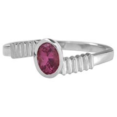 18 Karat White Gold with 0.50 Carat Pink Sapphire in Oval Cut Stacking Ring