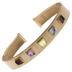 18 Karat Yellow Gold Piramidal Cut Stones BenBen Bracelet