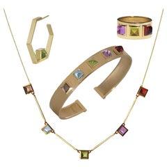 18 Karat Yellow Gold Piramidal Cut Stones BenBen Collection Set