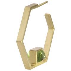 18 Karat Yellow Gold Piramidal Cut Stones BenBen Earrings