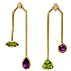 18 Karat Yellow Gold Peridot and Amethyst Malaka Earrings.Sustainable Fine Jewel