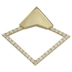 18 Karat Yellow Gold with 0.44 Carat Diamond Pavé Orbita Earrings