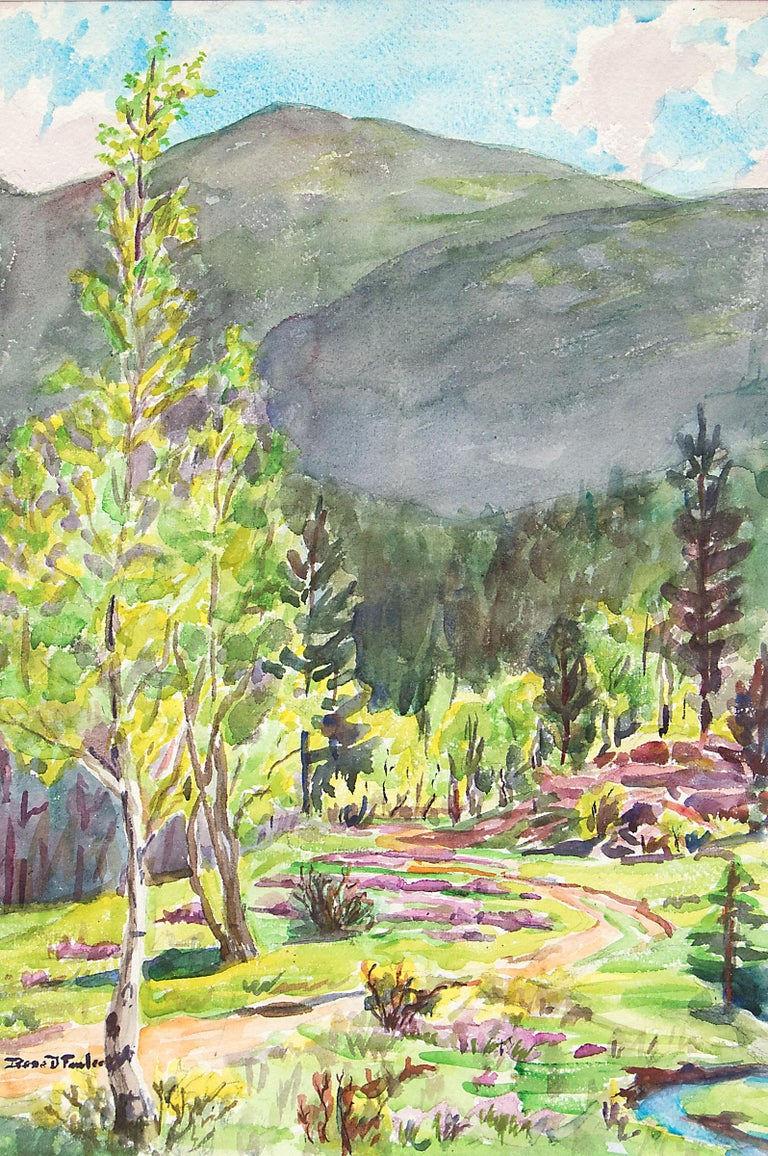 Early Summer, Colorado Mountains, Vintage Landscape with Aspens, Pines & Stream - Painting by Irene D. Fowler