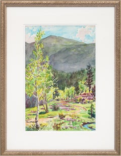 Early Summer, Colorado Mountains, Vintage Landscape with Aspens, Pines & Stream