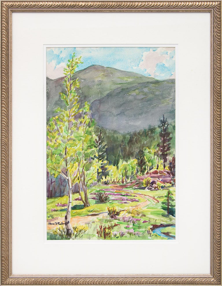 Irene D. Fowler Landscape Painting - Early Summer, Colorado Mountains, Vintage Landscape with Aspens, Pines & Stream