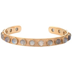 Irene Neuwirth Labradorite Bracelet Cuff Estate 18 Karat Gold Fine Jewelry