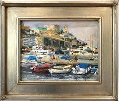 """Port De Monte-Carlo"" Beachside Village Scene Impressionist Oil Canvas Painting"