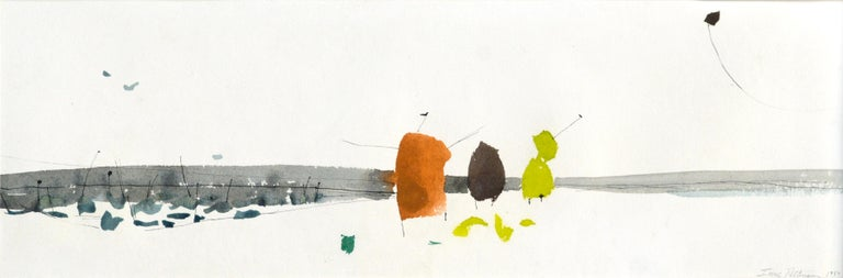 Mid Century Abstracted Landscape -- Flying A Kite at the Beach - Painting by Irene Pattinson