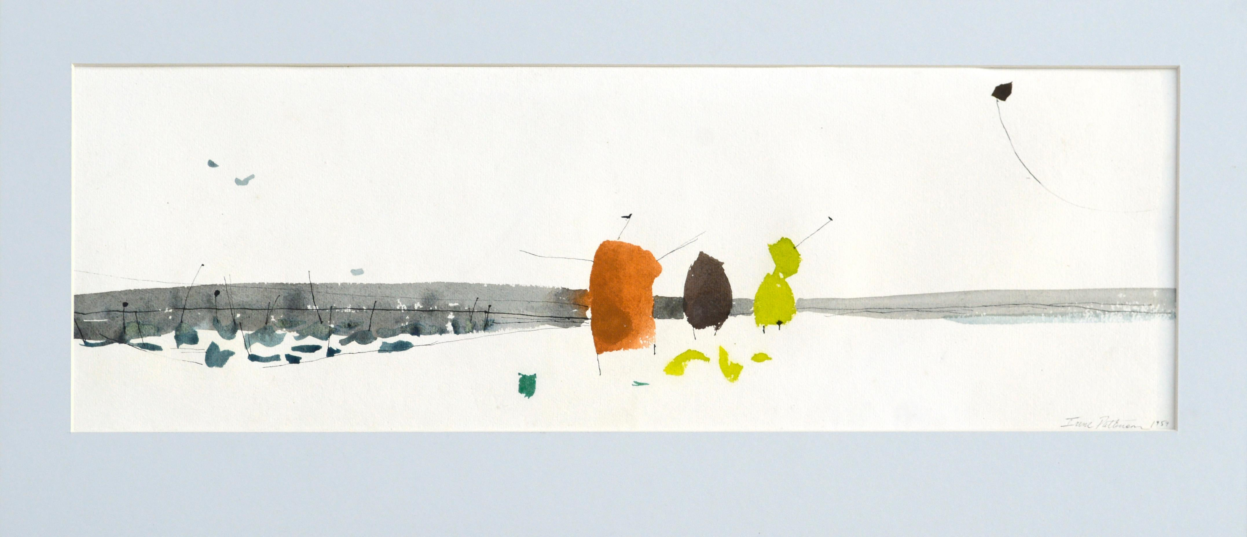 Mid Century Abstracted Landscape -- Flying A Kite at the Beach