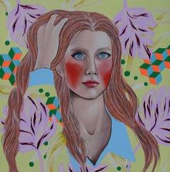 La più bella della scuola - The most popular girl, Painting, Acrylic on Canvas