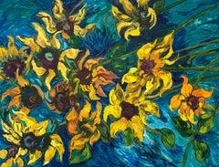 Irene Salley - Happy Sunflowers, Post Impressionist Painting