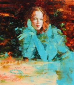 """Amber & Turquoise"", Irene Sheri, Figurative, Impressionism, Original, 34x30"