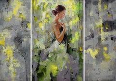 """Shades of Tenderness"", Irene Sheri, Figurative, Triptych, Original, 48x65"