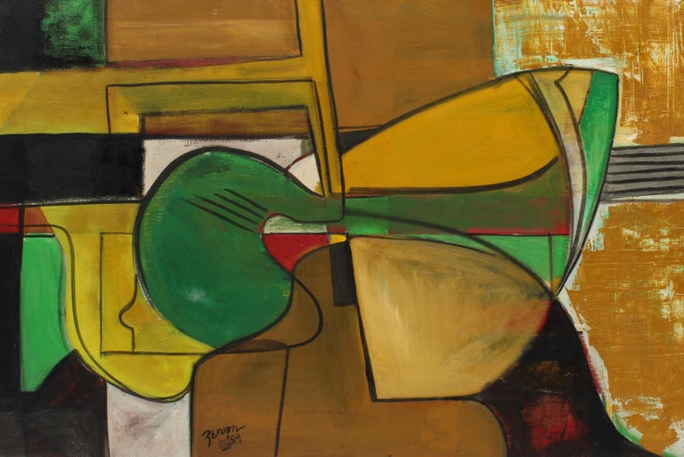 Original Abstract Expressionist 1959 New York Female Artist Irene Zevon Musical - Brown Abstract Painting by Irene Zevon